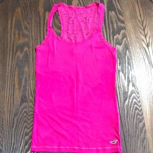 Hollister Lace Tank Top in pink.